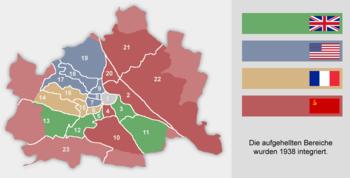 Les quatre secteurs d'occupation à vienne. les zones en rouge clair