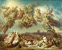 painting of a battle scene with men and horses fighting on the ground and angels fighting in the sky