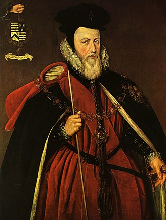 Chaperon (headgear) - William Cecil, 1st Baron Burghley in his Order of the Garter robes, c. 1595, with vestigial bourrelet, the cornette worn as a sort of sash, tucked under a belt, and the patte off to the left. On his head he wears a cap.