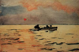 Wet-on-wet - Winslow Homer, Rowing Home (1890); an example of the wet-on-wet technique in watercolor, especially in the sky.