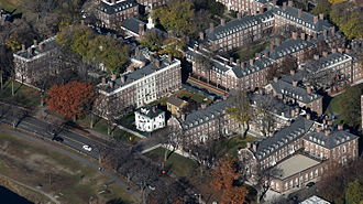 Winthrop House - The open courtyard of Winthrop's Gore Hall (left) faces Memorial Drive and the Charles River, along with Leverett's McKinlock Hall (right) and Lowell House (top)