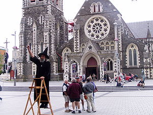 Wizard of New Zealand - The Wizard in front of the cathedral in January 2007