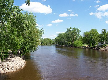 Looking west off a bridge at the Wolf River (F...