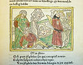 Woodcut illustration of Hypsipyle sparing her father Thoas from death, with the death of Opheltes in the background - Penn Provenance Project.jpg