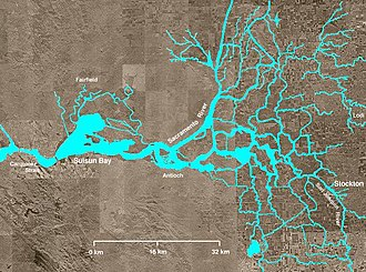 Inverted river delta - A picture of California's Sacramento-San Joaquin River Delta, with Suisun Bay at left-center and the Carquinez Strait at far left