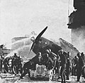 Wrecked F6F Hellcat on USS Enterprise (CV-6) on 14 May 1945.jpg