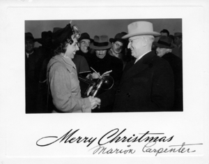 Marion Carpenter -  1949 Christmas Card created by Marion Carpenter for President Harry S. Truman. The original is in the Harry S. Truman Presidential Library and Museum.  Courtesy of the Truman Library.