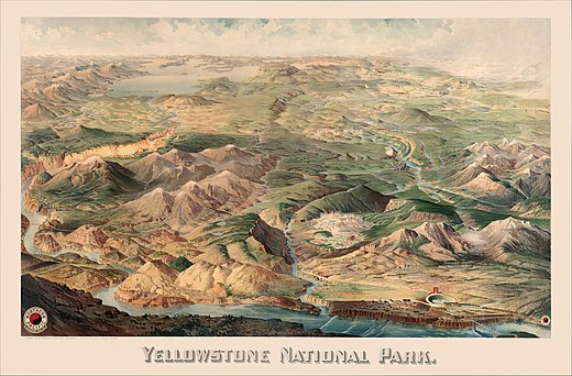 Detailed pictorial map from 1904 Yellowstone National Park by Wellge, 1904.jpg