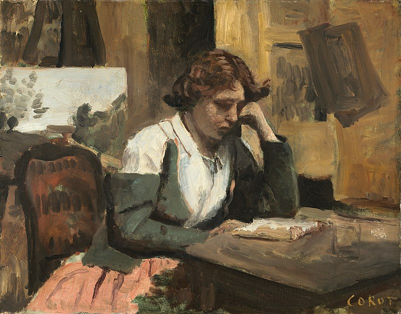 Young Girl Reading by Jean-Baptiste-Camille Corot c1868.jpg