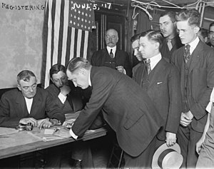 Young men registering for military conscription, New York City, June 5, 1917