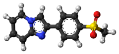 Ball-and-stick model of the zolimidine molecule