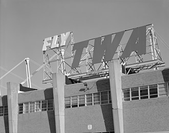 "TWA's maintenance hangar at Philadelphia airport, built in 1956, from an undated photo from Historic American Engineering Record ""Fly TWA"" sign.jpg"