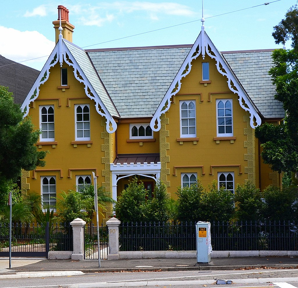 Residential homes mostly in various Victorian styles