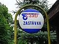 Špania Dolina, Rudné bane, zastávka autobusu, zastávkový terč ČSAD.jpg