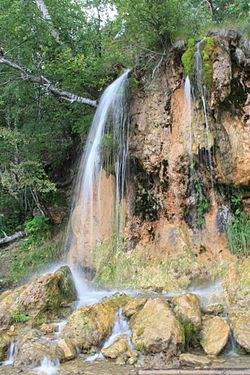Plakun Waterfall, a protected area of Russia in Suksunsky District