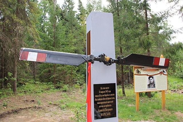 Новая памятная стела, установленная в 2016 году на месте, где был найден тяжело раненный летчик А.П. Маресьев