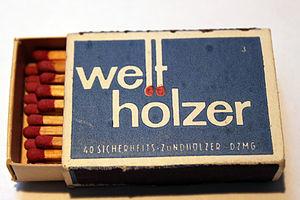 Matchbox - A German matchbox containing safety matches.