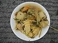 0099Nilagang repolyo, petsay Tagalog, kamote, patatas, kamatis at Pritong Dalag (Bulig) sa tanglad 04.jpg