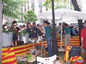 Roses stall, with Catalan flag