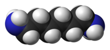 Spacefill model of hexamethylenediamine