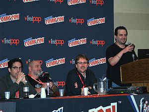 Andy Diggle - Diggle, third from left, on a Dynamite Entertainment panel at the 2013 New York Comic Con. To Diggle's left are Dennis Calero and Matt Wagner.