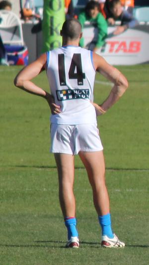 Matthew Warnock - Matthew Warnock at a game against the GWS Giants in 2012