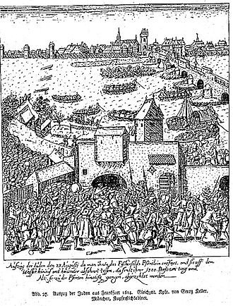 "History of the Jews in Germany - Etching of the expulsion of the Jews from Frankfurt on August 23, 1614: The text says, ""1,380 persons old and young were counted at the exit of the gate."""