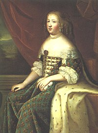 17th century oil portrait painting of Marie Thérèse of Austria as queen of Louis XIV by an unknown artist.jpg