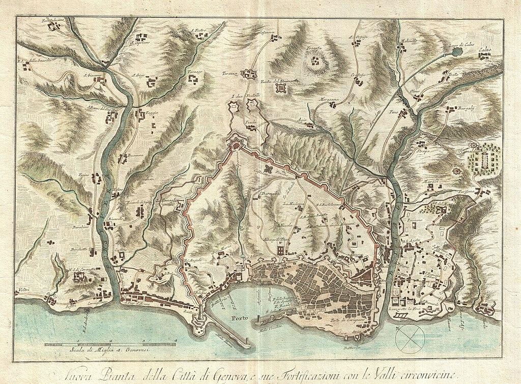 Carte détaillée de Gênes en 1800 et aujourd'hui.