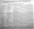1825 Independent Statesman newspaper Portland Maine USA April 1st.png