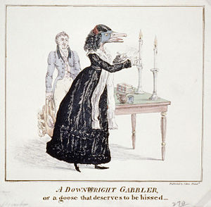Frances Wright - A hostile cartoon lampooning Wright for daring to deliver a series of lectures in 1829, at a time when many felt that public speaking was not an appropriate activity for women.