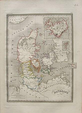 Conrad Malte-Brun - Example of Malte-Brun map - 1837 Denmark