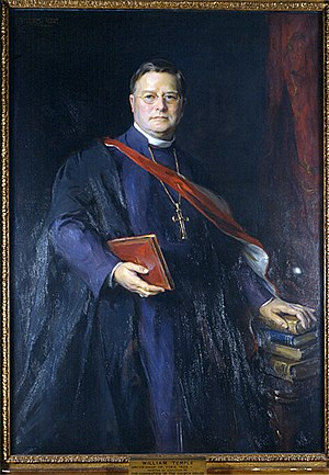 William Temple, a leading figure of liberal social thought in Anglicanism in the early 20th century 1942 William Temple Philip De Laszlo.jpg
