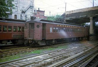 PRR MP54 - A Pennsylvania Railroad MP54 trailer in New Jersey in 1967.