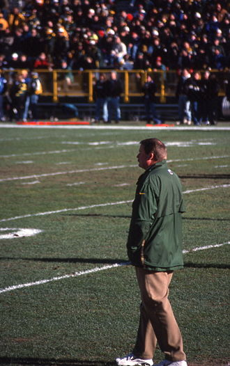 Holmgren, one of three Packer coaches to win a Super Bowl, pictured in 1998 19981213 24 Mike Holmgren, Lambeau Field,.jpg