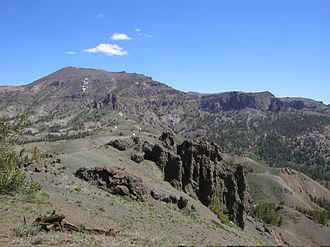 Sonora Pass - View of the Sierra Nevada range  and Sonora Peak looking northward from Sonora Pass.