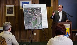 Natural Resources Conservation Service - USDA-NRCS State Conservationist Salvador Salinas with federal and state partners held a press conference at the Arkansas National Wildlife Refuge, in Austwell, TX, on Friday, Dec. 16, 2011. Salinas covered the recent announcement of the USDA-NRCS Gulf of Mexico Initiative (GoMI) efforts to improve water quality, habitat, and the health of the Gulf ecosystem.