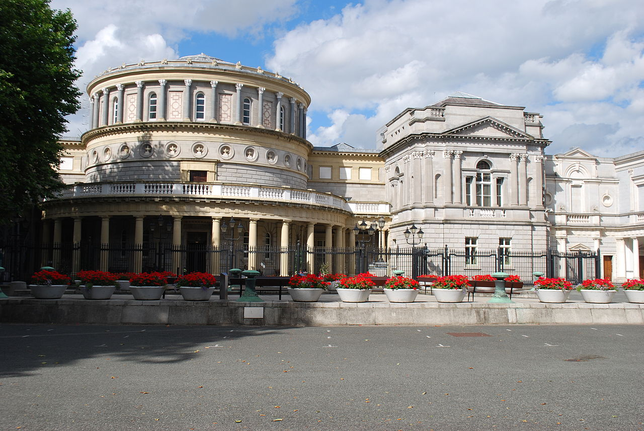 Facade of the National Library of Ireland in Dublin