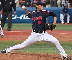 20140413 Ryohei Kiya, pitcher of the Tokyo Yakult Swallows, at Yokohama Stadium.JPG
