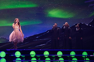 Iceland in the Eurovision Song Contest 2015 - María Ólafs and backing vocalists during a rehearsal for the second semi-final