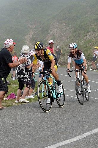 Primož Roglič - Roglič (left) on Stage 19 of the 2018 Tour de France