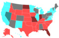 2018 United States Senate Election by Change of the Majority Political Affiliation of Each State's Delegation From the Previous Election.png