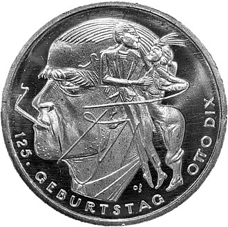 Otto Dix - 20 Euro coin minted in 2016 to commemorate Dix's 125th birthday.