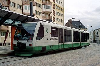 Die Länderbahn - VT 45 railcar with BO-Strab equipment at the end of the line in central Zwickau