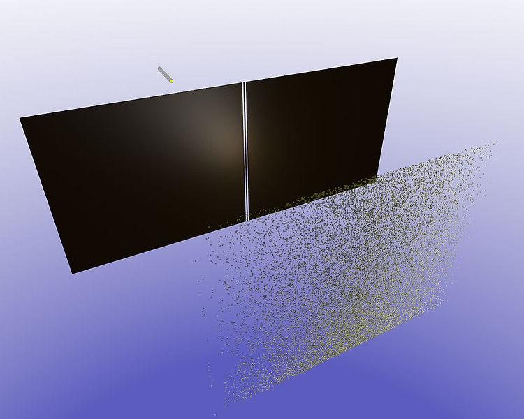 Qu'est ce que la dualité onde-particule ? 750px-2Slits-particles_only