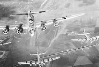 2nd Operations Group - 2d Bombardment Group B-17s form up and begin their climb to altitude from Amendola Airfield, Italy, 1944