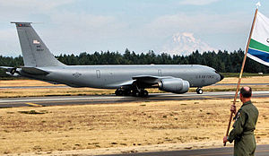 319th Operations Group - Boeing KC-135R Stratotanker 63-8037 from the 319th Operations Group takes off from McChord AFB, Washington