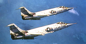 32d Air Division - Lockheed F-104s of the 319th Fighter-Interceptor Squadron over Biscayne Bay, Florida