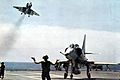 A-4E of VA-195 after landing on USS Oriskany (CVA-34) 1969.jpg
