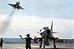A-4E of VA-195 after landing on USS Oriskany (CVA-34) 1969.jpg